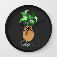 fig Wall Clocks featuring fig by Little Lost Garden