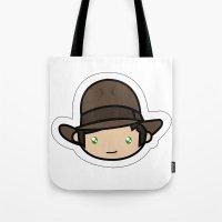 indiana jones Tote Bags featuring Hello Indiana Jones !! Kawaii Cuteness! by Aimee Liwag