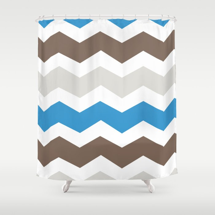 Brown Blue Gray Chevron Shower Curtain By Halamo