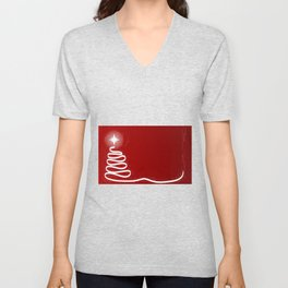 Red Scrible Christmas Tree Unisex V-Neck