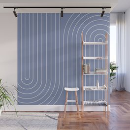 Minimal Line Curvature - Blue Wall Mural