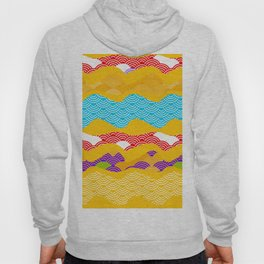 Summer bright pattern  scales simple Nature background with Chinese wave circle pattern Hoodie