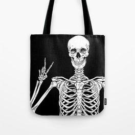 Human skeleton posing isolated over black background vector illustration Tote Bag