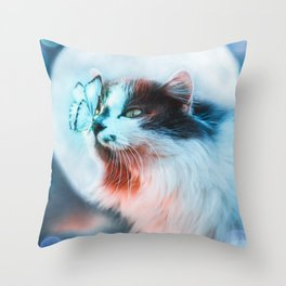 The cat and the butterfly under the moon by GEN Z Throw Pillow