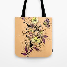 Flower Tattoo in Yellow and Purple Tote Bag