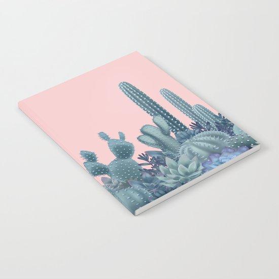 Milagritos Cacti on Rose Quartz Background Notebook