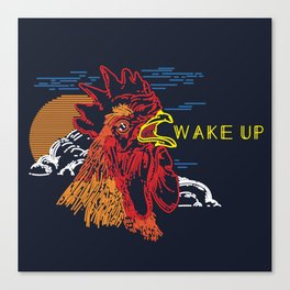 Wake Up Monoline Rooster Graphic Canvas Print