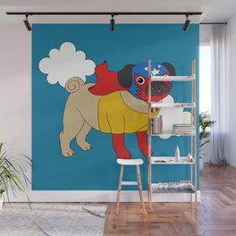 Lucha Libre Pug Wall Mural