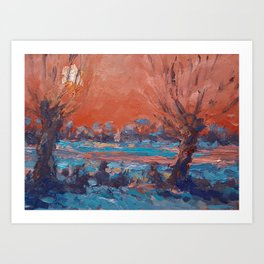Wintergift serie 26  Winter in the polder Art Print