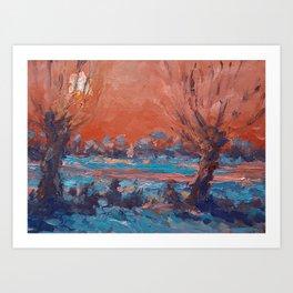 Wintergift serie 26  Winter in the polder Art Print