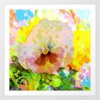 water colour Art Prints featuring Artistic Water colour Pansy by thea walstra