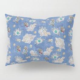 Costume Jewelry  & Cream Lace on Blue Denim Texture Pillow Sham