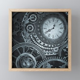 Silver Steampunk Clockwork Framed Mini Art Print