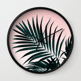 Modern tropical palm tree photography pastel pink ombre gradient Wall Clock