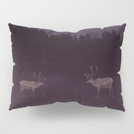 Full Moon - Winter Night With Reindeer At Edge Of Forest #decor #buyart #society6 Pillow Sham