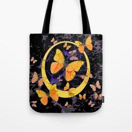 BLACK & YELLOW BUTTERFLIES VIGNETTE ABSTRACT ART Tote Bag