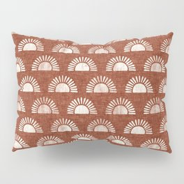 block print suns on rust Pillow Sham