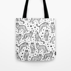 Wolves and Stars on White Tote Bag