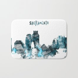 Sacramento Monochrome Blue Skyline Bath Mat