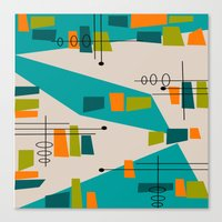 mid century modern Canvas Prints featuring Mid-Century Modern Abstract by Kippygirl