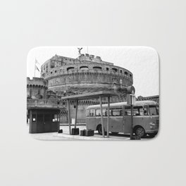 Castel Sant Angelo between past and present B/N Bath Mat