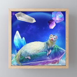 Ferret in the Sky with Crystals Framed Mini Art Print