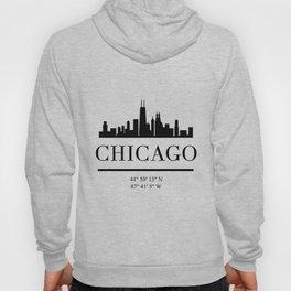 CHICAGO ILLINOIS BLACK SILHOUETTE SKYLINE ART Hoody