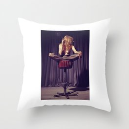 relaxed on the bar stool - Naked women Throw Pillow
