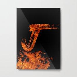 Burning on Fire Letter J Metal Print