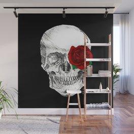 Rose Skull Black Wall Mural