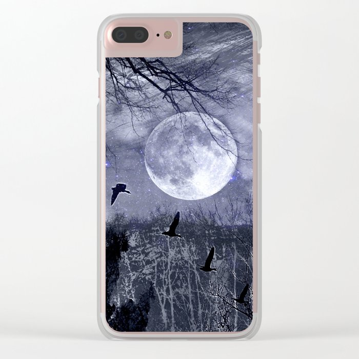 full moon in the woods Clear iPhone Case