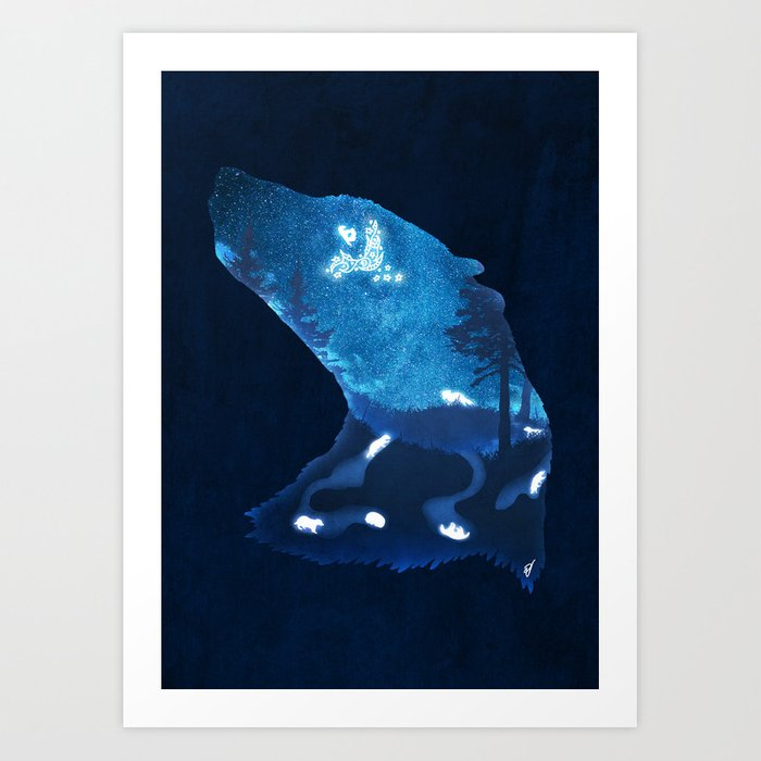 Moon Badgers Art Print