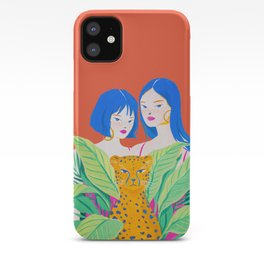 Girls and Panther in Tropical Jungle iPhone Case