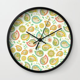 Hedgehog Paisley_Green outline Wall Clock