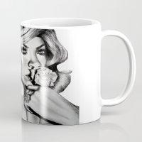 rihanna Mugs featuring Rihanna by Ellie Wilson Designs