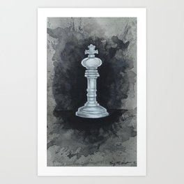White Chess Piece | Watercolor Painting  Art Print