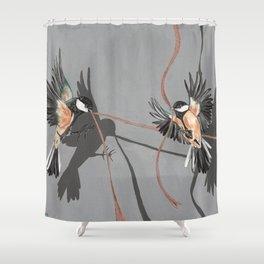 Great Tits Bird Ribbon Grey Shower Curtain