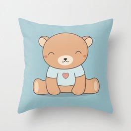Kawaii Cute Teddy Brown Bear Throw Pillow