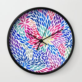 Flowing Leaves Purple & Blue Pattern Wall Clock