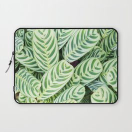 Botanical green white natural tropical leaves Laptop Sleeve