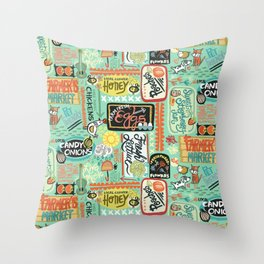 Farmer's Market Fun Throw Pillow