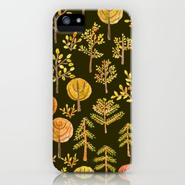 Watercolor autumn forest in doodle style iPhone Case