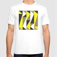 Yellow & black triangle pattern MEDIUM White Mens Fitted Tee
