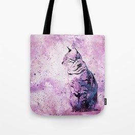 Pink Watercolor Cat Painting Tote Bag