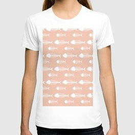 Soft Pink Fish Skeleton Pattern Design T-shirt