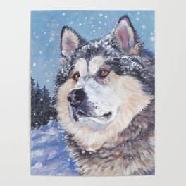 Alaskan Malamute dog portrait Fine Art Dog Painting by L.A.Shepard Poster