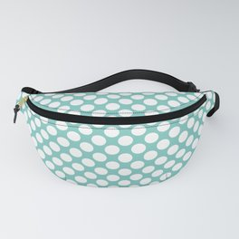 Polka dots - turquoise and white Fanny Pack