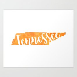 Tennessee Script Map Art Print