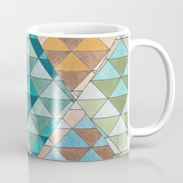 Triangle Patter No.15 Shifting Teal and Yellow Coffee Mug
