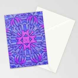 Eight-sided Mandala in blue and fuchsia tones Stationery Cards